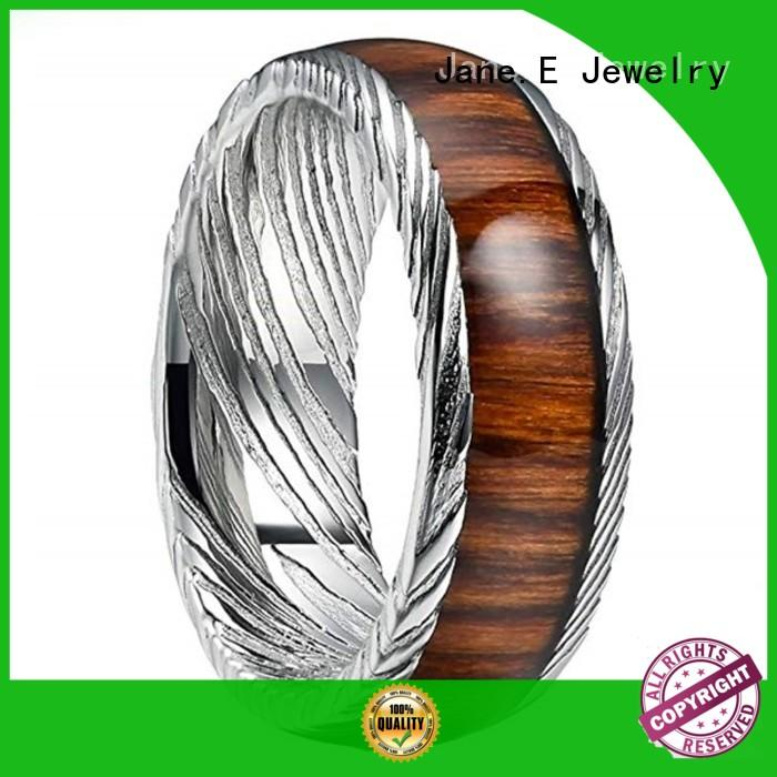 JaneE silver damascus steel wedding ring factory direct for inlay