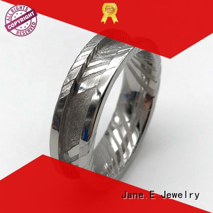 JaneE watery or wavy patterns damascus steel ring factory direct for wedding
