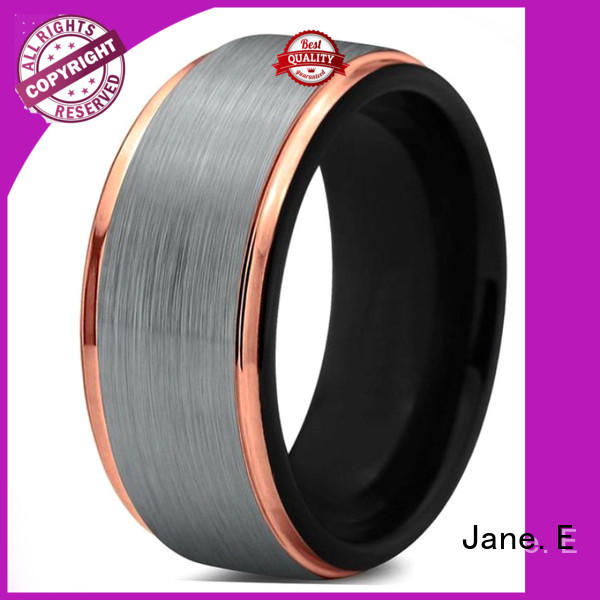 JaneE shiny polished matching tungsten wedding bands exquisite for gift