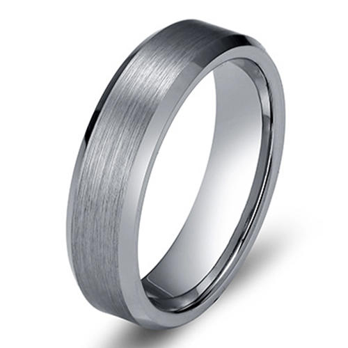 shiny polished tungsten carbide mens wedding ring two tones engraved for wedding-2