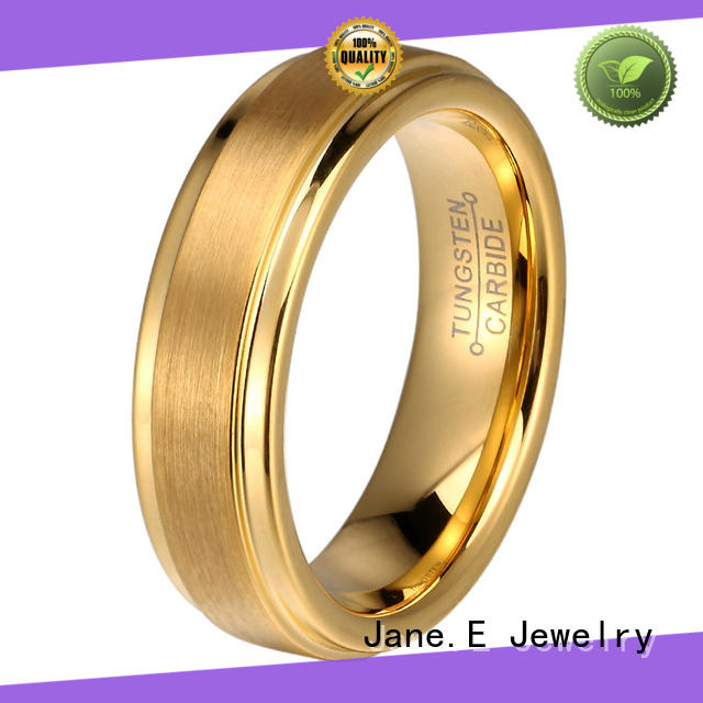 JaneE two tones black tungsten rings engraved for gift