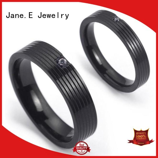 JaneE 316l steel stainless steel mens wedding bands top quality for weddings