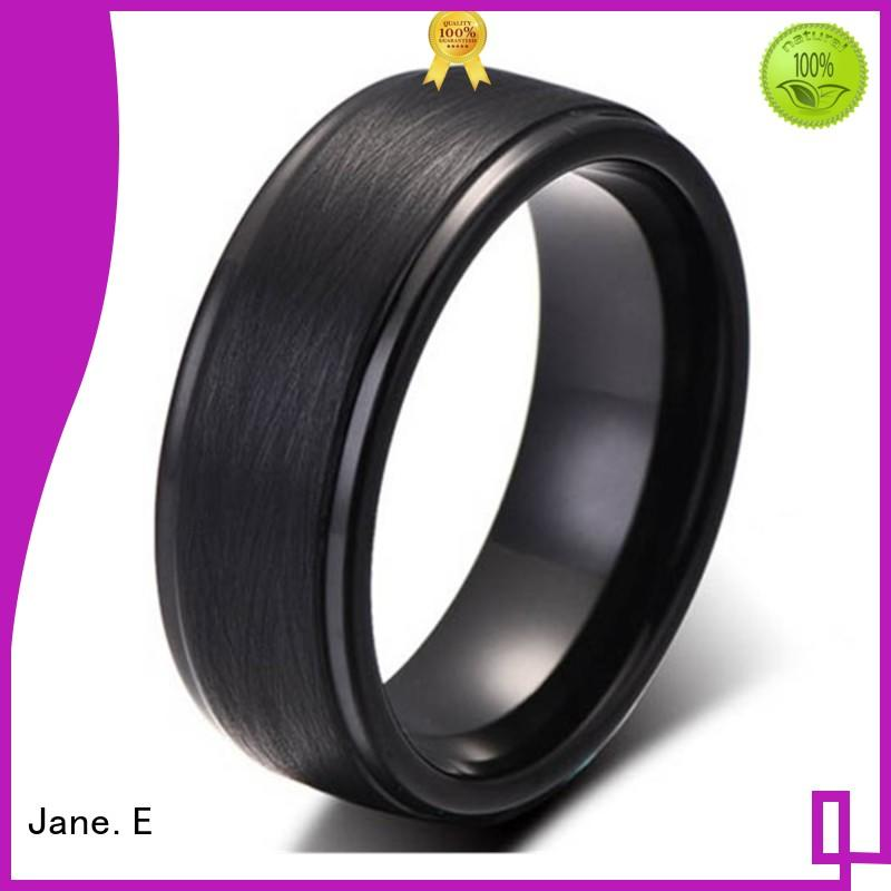 JaneE red opal black tungsten wedding bands engraved for gift