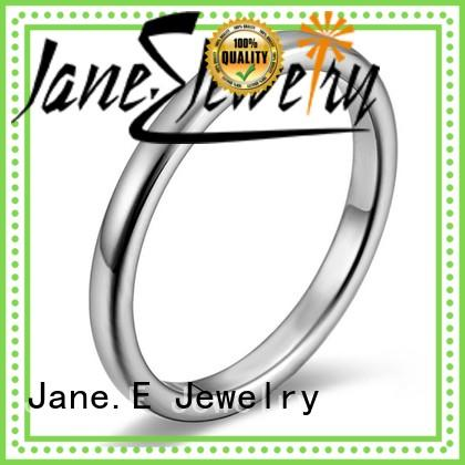 JaneE square edges stainless steel wedding rings comfortable for weddings