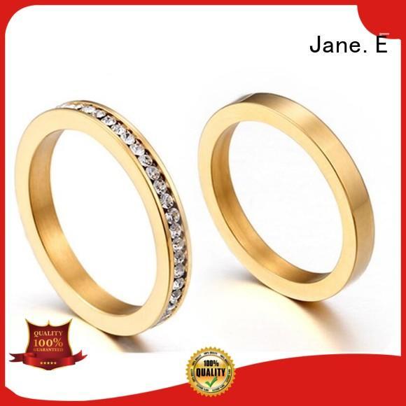 JaneE brown women's stainless steel rings comfortable for men