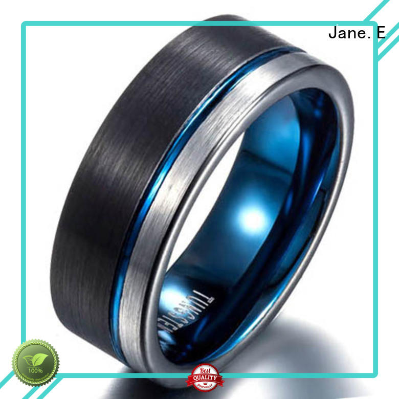 JaneE meteorite mens black tungsten wedding bands matt for wedding