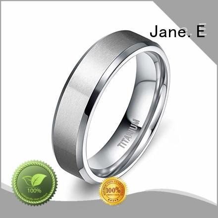 JaneE sparkle sandblasting titanium rings for women simple for wedding