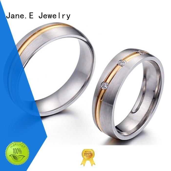 JaneE black stainless steel cz rings top quality for decoration