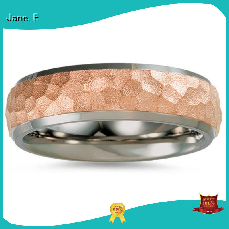 JaneE 14k yellow gold titanium ring modern design for engagement