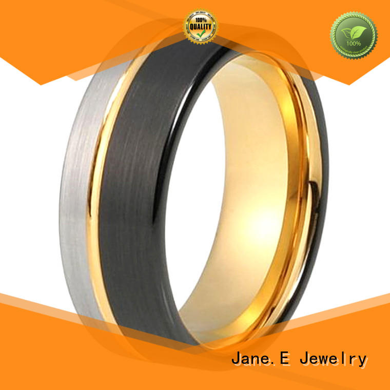 JaneE two tones tungsten rings for her engraved for engagement