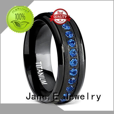 JaneE 316l stainless steel black titanium ring simple for anniversary