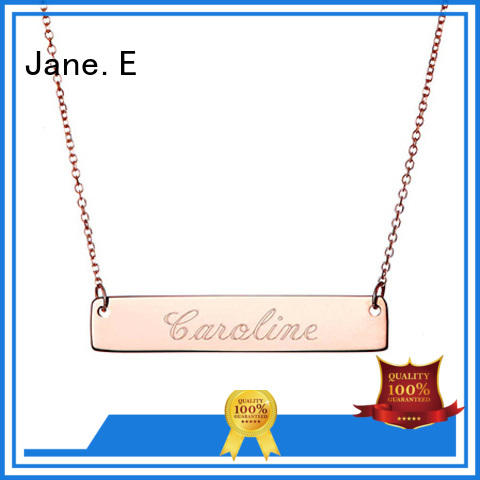 JaneE letter engraved stainless steel diffuser necklace different dimension for gift