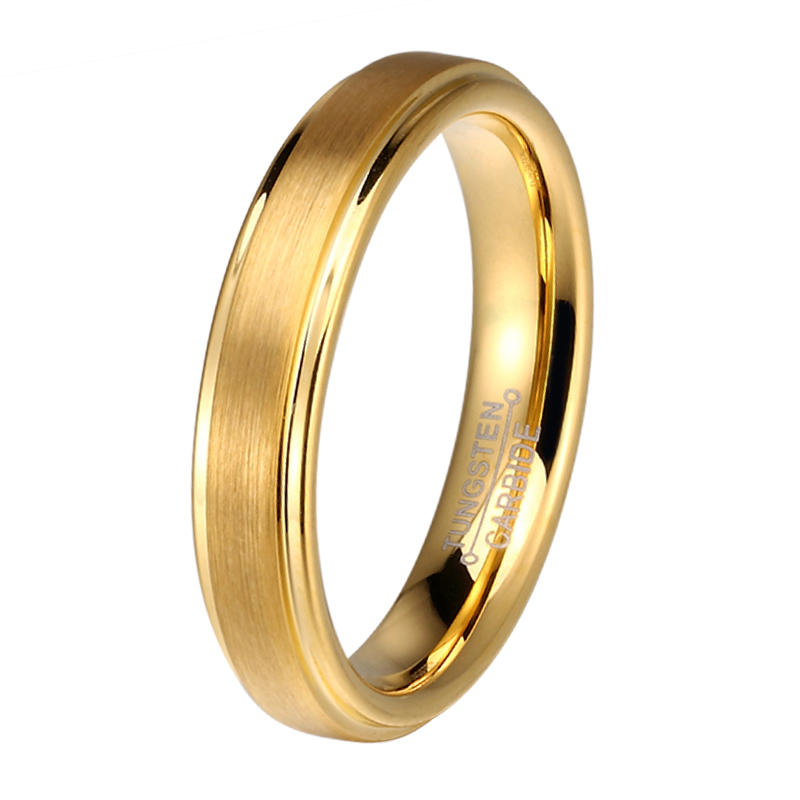 JaneE damascus texture tungsten carbide gold ring exquisite for gift-2