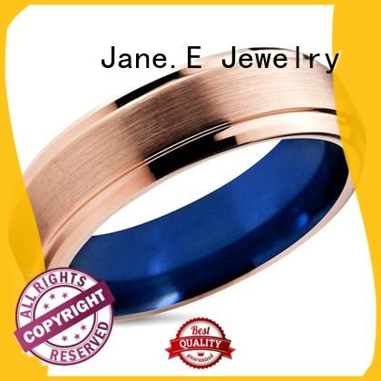 inlay brushed red and black tungsten ring red opal for wedding JaneE