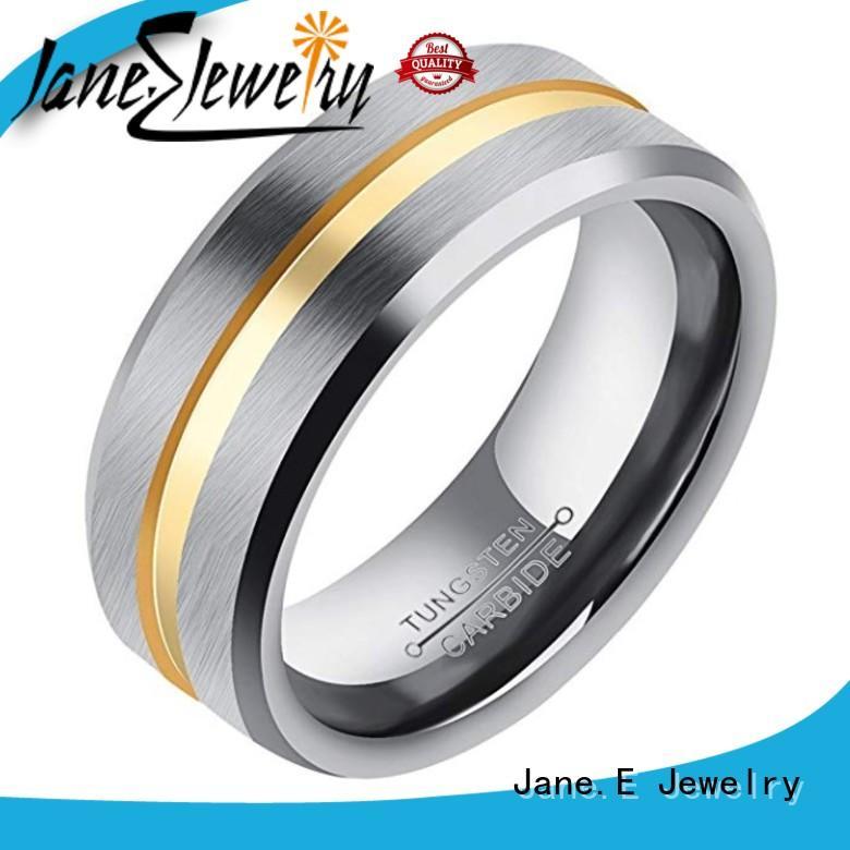 JaneE traditional tungsten band rings matt for wedding
